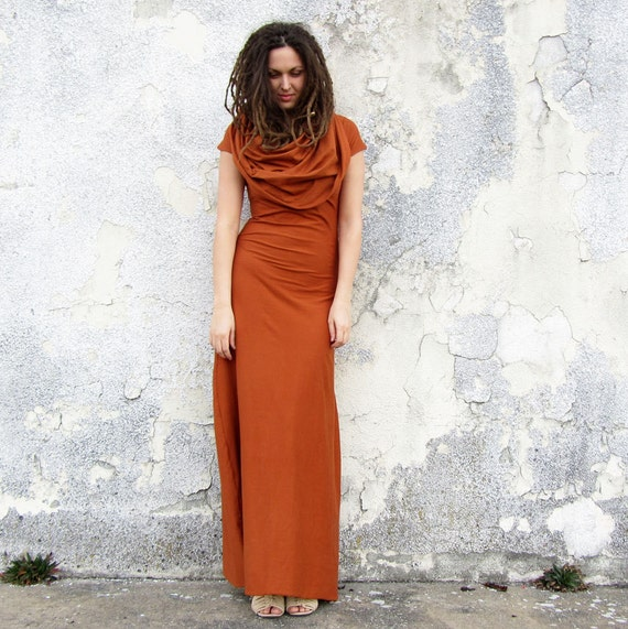 ORGANIC STRETCHY Super Cowl Simplicity Long Dress ( STRETCH Organic Cotton Knit )