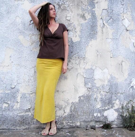 ORGANIC Pencil Long Skirt (light hemp and organic cotton knit) - organic skirt