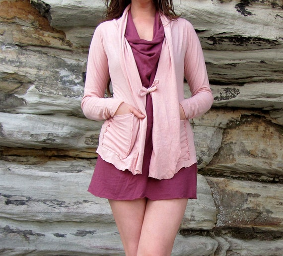 Organic Women's Tie Front Jacket with Pockets (light hemp and organic cotton knit)