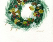 Original Watercolor Holiday Christmas Wreath Simple Elegant