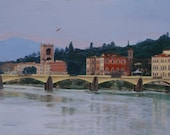 Pont Vecchio Landscape River view in Florence Italy Giclee Reproduction 9x12
