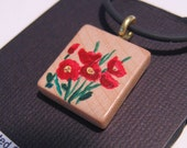 Red Poppies hand painted Scrabble Tile pendant w/ cord red green