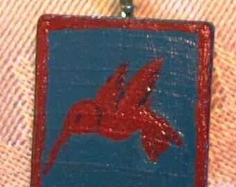 Hummingbird Scrabble Tile Pendant Necklace hand painted