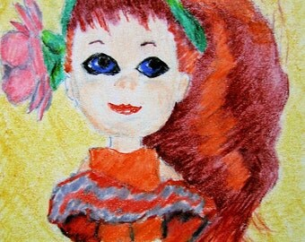 ACEO Liddle Kiddle Doll Retro Print Color Pencil 2.5 X 3.5