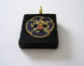 Purple Pansy floral hand painted Scrabble Tile pendant w/ cord Black