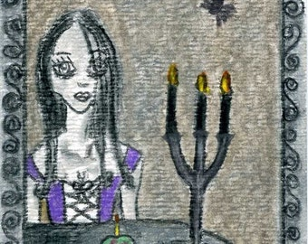 Goth Girl Birthday ACEO Reproduction Color Pencil 2.5 X 3.5