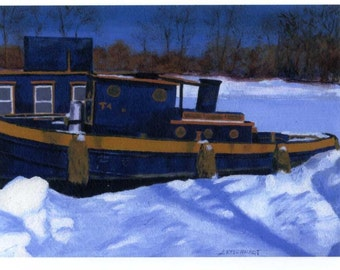 Winter  Boat Canal Painting ACEO reproduction Snow