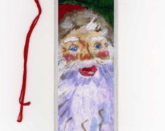 Santa Claus Holiday Watercolor Print Bookmark Christmas