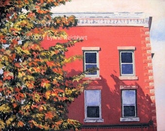 Weathered Brick Building Acrylic Painting Giclee Reproduction Professionally Printed