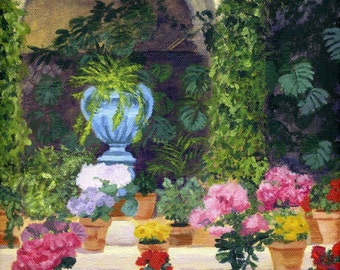 Spanish Courtyard Acrylic Painting Giclee Reproduction Professionally Printed
