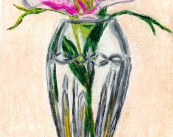 ACEO Crystal Vase flowers Print Colored Pencil Painting 2.5x3.5