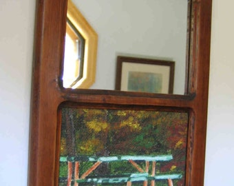 Camp Fall landscape Picture Mirror Wall Hanging Rustic