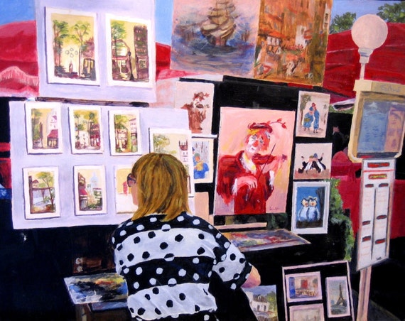 Artist at work in Paris MontMartre Giclee Reproduction of Acrylic Painting 11x14
