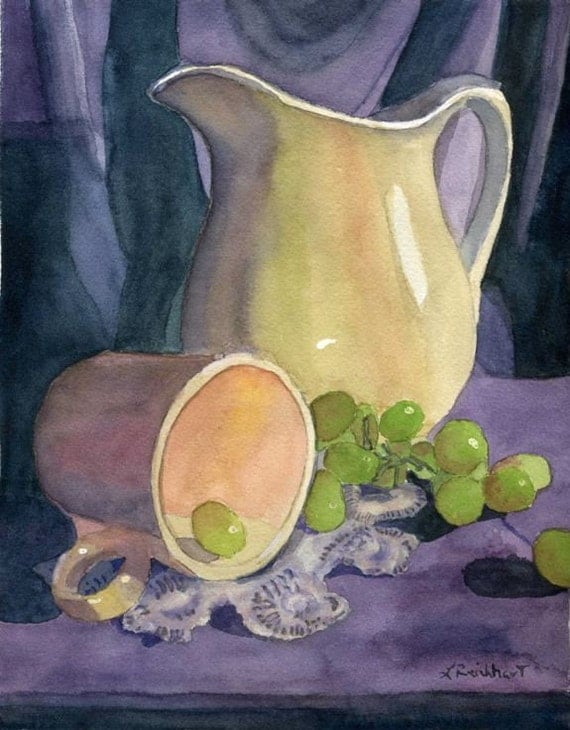 Watercolor Still Life Painting Purple Blue Pitcher Grapes