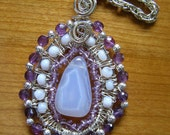 Blue Lace Agate, Amethyst, Freeform Sterling Silver Wire pendant