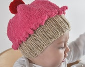Fuzzy Baby Dark Pink Baby Cupcake Hat with Red Cherry (0-6 months)