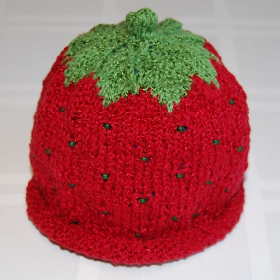 Strawberry Baby Hat with Green Beads Cotton-Rayon Blend (6-12 months)