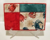 Quilted Postcard, Fabric Postcard, Mini Art Quilt, Crabs