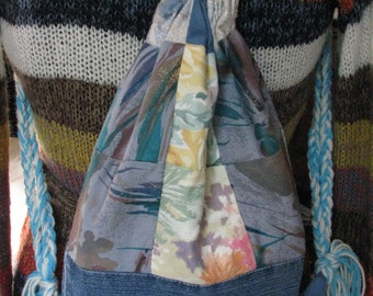 Quilted Reconstructed Jean Drawstring Bag