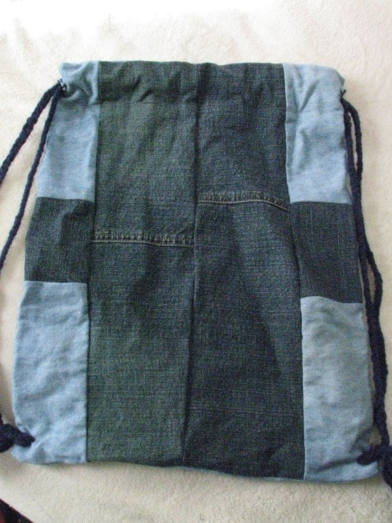 Upcycled and Reconstructed Jean Drawstring Bag