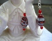 RED AND WHITE WHIRLIGIG EARRINGS