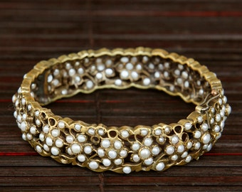 Romantic  Indian brass and inlaid pearls in cuff bracelet