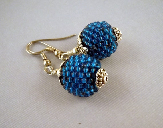 Sapphire Blue Beaded Bead Earrings