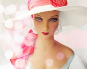 Wide Brimmed White Straw Sun Hat with Removable Orange Scarf and Fabric Flower Brooch