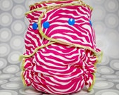 Pink Zebra OS Fitted Cloth Diaper