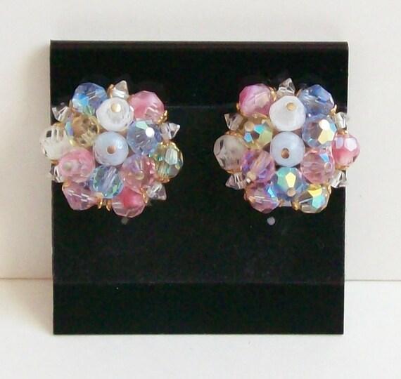 Vintage Pastel Crystal Earrings, Swarovski Crystal, Button Earrings, Cluster Earrings, Clip-On Earrings, Pastel Earrings