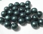 25 8mm dark green smooth matte  czech glass beads...craft and jewelry supplies...BOX 21a