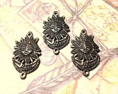 3 metal sun and moon pendants with a loop at the top and the bottom .. antique gold tone .. craft and jewelry supplies .. BOX 21a