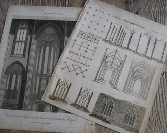 2 Antique Gothic Architecture Book Plate Engravings