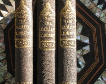 1800s Harper & Brothers The Family Library Volumes 38,39,40 Lives of Celebrated Travellers