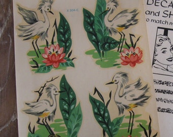 4 Vintage Meyercord Flamingo and Water Lily Decals