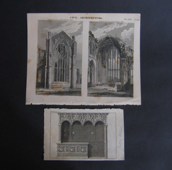 2 Gothic Architecture Engravings from Books