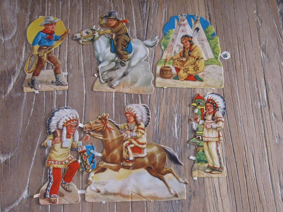 RESERVED DENISEVintage Die Cut Cowboy and Indian Decoupage Scrapbook