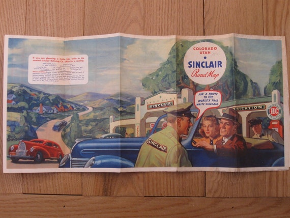 1930s Sinclair Gasoline Road Map of Colorado and Utah
