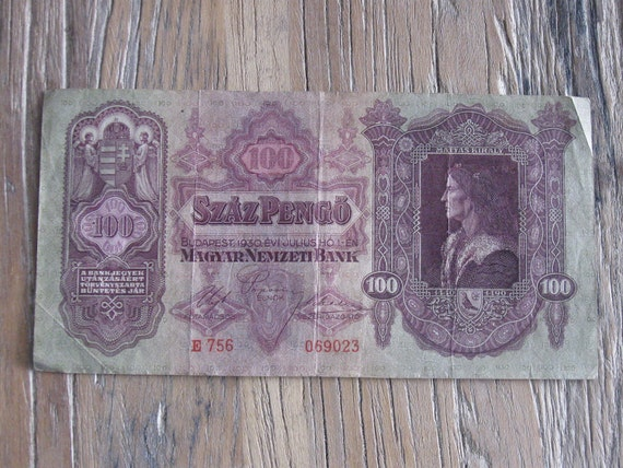 1930 Hungarian 100 Pengo Paper Currency