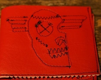 red  pleather skull with wings wallet