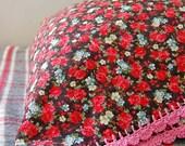 pillowcase with crochet trim  - Winter Rose