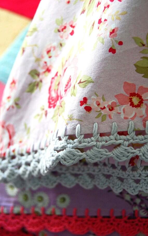 pillowcase with crochet trim  -  Antique Rose