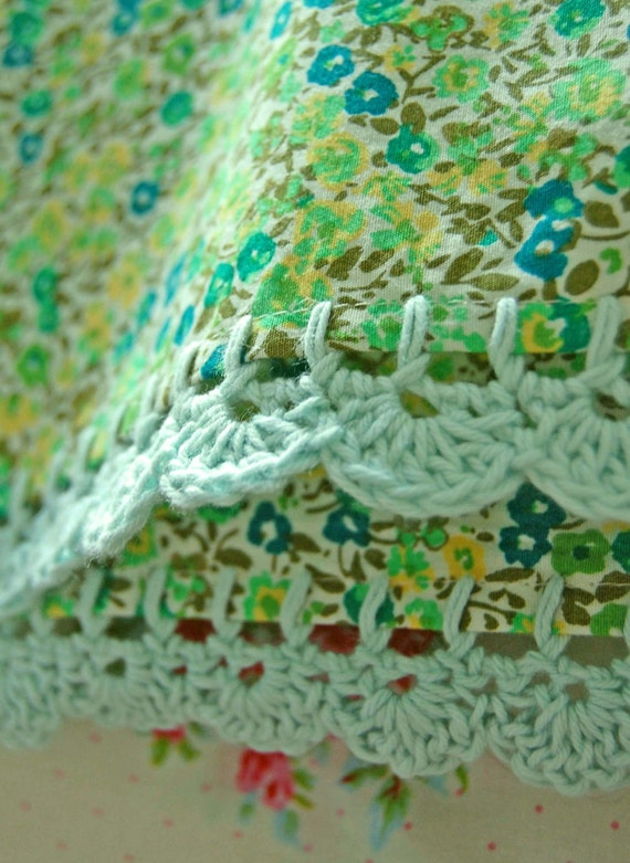 pillowcase with crochet trim  - Sweet Pea