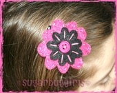 Hot Pink and Black Felt Flower Hair Clip