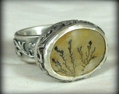 Dendritic quartz Mineral Stone Ring, sterling silver, chunky ring