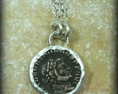 ancient genuine Roman coin and sterling silver pendant necklace