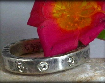 Rustic Diamond Band ,wedding band, stacking ring,  engagement ring, birthstone ring  eternity band