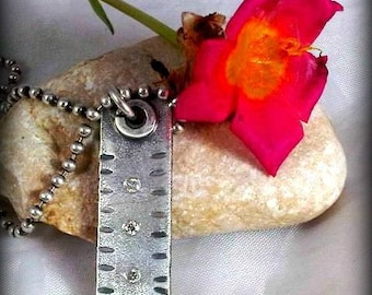 Diamond  Pendant , Rustic  Diamond Necklace in Sterling Silver, birthstone necklace