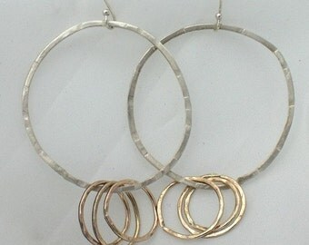 Hoop Earrings, Large silver and gold Gypsy Hoops, sterling and gold  extra large  dangle earrings