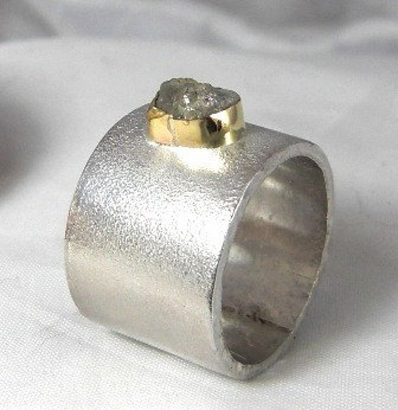 Rough Diamond Engagement Ring in gold and silver, chunky wide band, conflict free